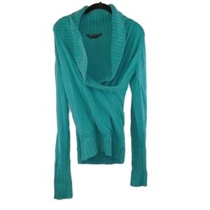 BCBGMaxAzria Sweater Teal Cowl Plunge Neck Large